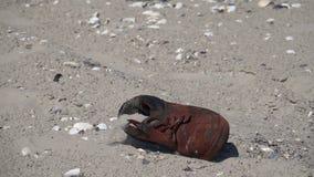 Uma sapata cai na areia Movimento lento video estoque