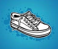 Uma sapatilha desenhada mão ilustração stock