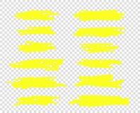 Uma seleção da linha de marcadores do curso Linhas da escova do destaque do vetor O esboço do desenho da mão sublinhou, listras I ilustração royalty free