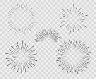 Uma seleção da silhueta da explosão, fogos de artifício de linhas simples Ilustração do vetor no fundo branco isolado ilustração royalty free