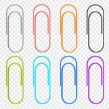 Uma seleção de ícones coloridos grampeia, localizado em um fundo transparente Elementos do vetor para seu projeto ilustração do vetor