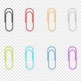 Uma seleção de ícones coloridos grampeia, localizado em um fundo transparente Elementos do vetor para seu projeto ilustração stock