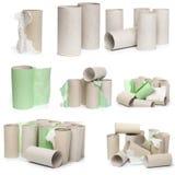 Uma seleção dos tubos do papel higiênico do cartão em vários arranjos isolados em um fundo branco foto de stock royalty free