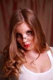 Uma senhora nova tímida Fotografia de Stock