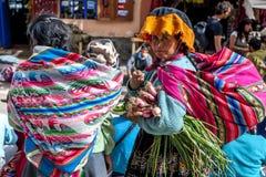 Uma senhora peruana no mercado em Pisac localizou no vale sagrado dos Incas no Peru Imagem de Stock Royalty Free