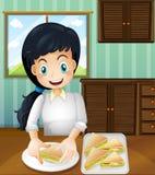 Uma senhora que prepara sanduíches ilustração stock