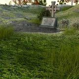 Uma sepultura pequena com uma cruz no gramado foto de stock royalty free