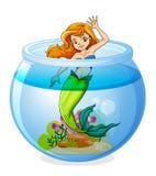 Uma sereia dentro da bacia ilustração stock