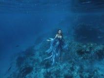 Uma sereia feericamente mágica em um vestido azul da luz do voo flutua no chão do oceano, na rainha do mar e nas medusa, um Dia d imagem de stock royalty free