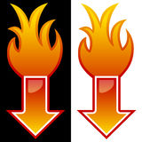 Seta com chamas Imagem de Stock Royalty Free