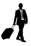 Uma silhueta de um viajante de negócio Fotografia de Stock Royalty Free