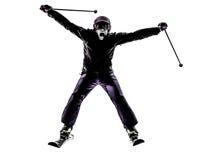 Uma silhueta do esqui do esquiador da mulher fotos de stock