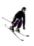 Uma silhueta do salto de esqui do esquiador da mulher Fotos de Stock Royalty Free