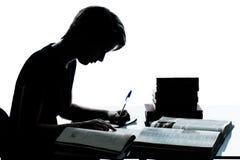 Uma silhueta nova do menino ou da menina do adolescente que estuda livros de leitura Fotos de Stock Royalty Free