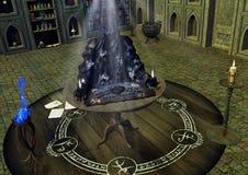 Uma tabela com uma placa assustador de Ouija com as almas que saem dela ilustração stock