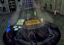 Uma tabela com uma placa de Ouija, uma vela, uma bola de cristal e um crânio em um templo da fantasia ilustração do vetor