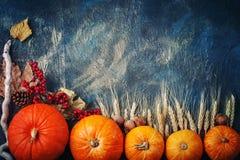 Uma tabela decorada com abóboras, festival da colheita, ação de graças feliz Fotografia de Stock