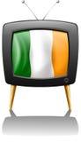 Uma televisão que mostra a bandeira da Irlanda ilustração stock