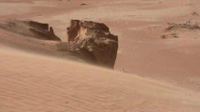 Uma tempestade de areia funde a areia através do deserto em Emiratos Árabes Unidos Fortes vento no final do sol da tarde video estoque