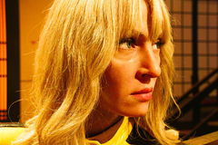 Uma Thurman as the Bride from Kill Bill in Madame Tussauds Hollywood Royalty Free Stock Photo