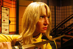 Uma Thurman as the Bride from Kill Bill in Madame Tussauds Hollywood Stock Images