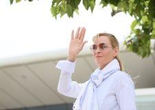 Uma Thurman asiste photocall del respeto de la O.N.U del jurado al cierto foto de archivo