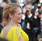 Uma Thurman. CANNES, FRANCE - MAY 23, 2014: Uma Thurman at 20th anniversary screening of her movie Pulp Fiction at the 67th Festival de Cannes Stock Images
