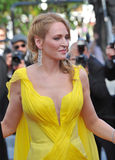 Uma Thurman. CANNES, FRANCE - MAY 23, 2014: Uma Thurman at 20th anniversary screening of her movie Pulp Fiction at the 67th Festival de Cannes Royalty Free Stock Photography