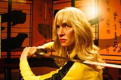 Uma Thurman como la novia de la matanza Bill en señora Tussauds Hollywood foto de archivo