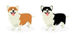 Uma tira dos cães produz o Corgi de Galês Fileira dos cães Teste padrão de cachorrinhos engraçados ilustração royalty free