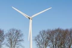 Uma turbina eólica entre copas de árvore contra um céu azul Fotos de Stock Royalty Free