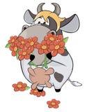 Uma vaca e uns desenhos animados pequenos das flores Fotografia de Stock Royalty Free