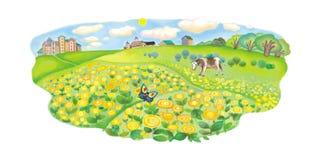 Uma vaca pasta em um prado Imagens de Stock