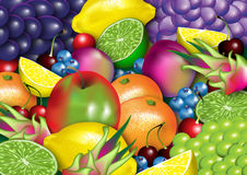 Uma variedade da fruta saudável Foto de Stock Royalty Free