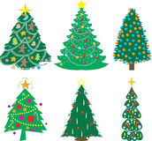 Uma variedade de árvores de Natal Fotos de Stock