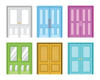 Uma variedade de ilustração colorida do vetor do projeto da porta da casa ilustração stock