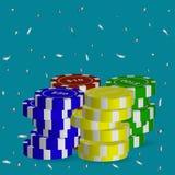 Uma variedade de microplaquetas de pôquer do valor diferente, serpantine de prata de voo Ilustração do vetor ilustração royalty free