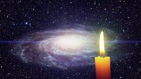 Uma vela e uma galáxia ilustração royalty free