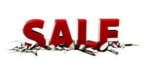Uma venda 3d vermelha em um fundo branco Fotografia de Stock Royalty Free