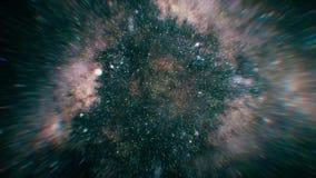 Uma viagem através do espaço, começando com voo através dos campos e das nebulosa de estrela Mover-se através do espaço estelar e ilustração do vetor