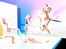 Uma visão do Mannequin do corredor ilustração do vetor