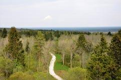 Uma vista aérea da estrada de enrolamento Imagem de Stock