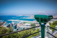 Uma vista aérea de Gibraltar, de seu porto e do SE mediterrâneo Fotografia de Stock Royalty Free