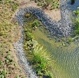 Uma vista aérea de um parque público moderno da cidade com um gramado da grama Fotografia de Stock Royalty Free