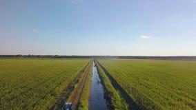 Uma vista aérea de um sistema de extinção de incêndios agrícola em um campo da melancia filme