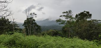Uma vista bonita de um monte coberto por nuvens imagens de stock