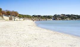 Uma vista da praia arenosa bonita de Campulongu, ilha de Sardinia, AIE Imagens de Stock Royalty Free