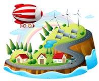 Uma vista da vizinhança com um dirigível Imagem de Stock Royalty Free