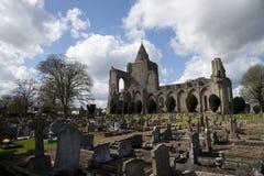 Uma vista das sobras da abadia de Crowland, Lincolnshire, Ki unido imagens de stock
