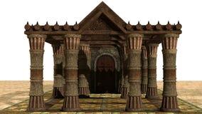 Uma vista de uma construção de pedra medieval velha ilustração do vetor